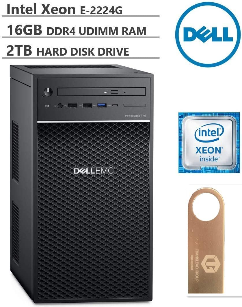 Dell PowerEdge T40 Tower Server (T30 Newer Version), Intel Quad-Core Xeon E-2224G 3.5GHz, 16GB DDR4 UDIMM RAM, 2TB 7200RPM HDD, DisplayPort, DVDRW, No OS, Black, Free TLG 32GB USB3.0 Flash Drive