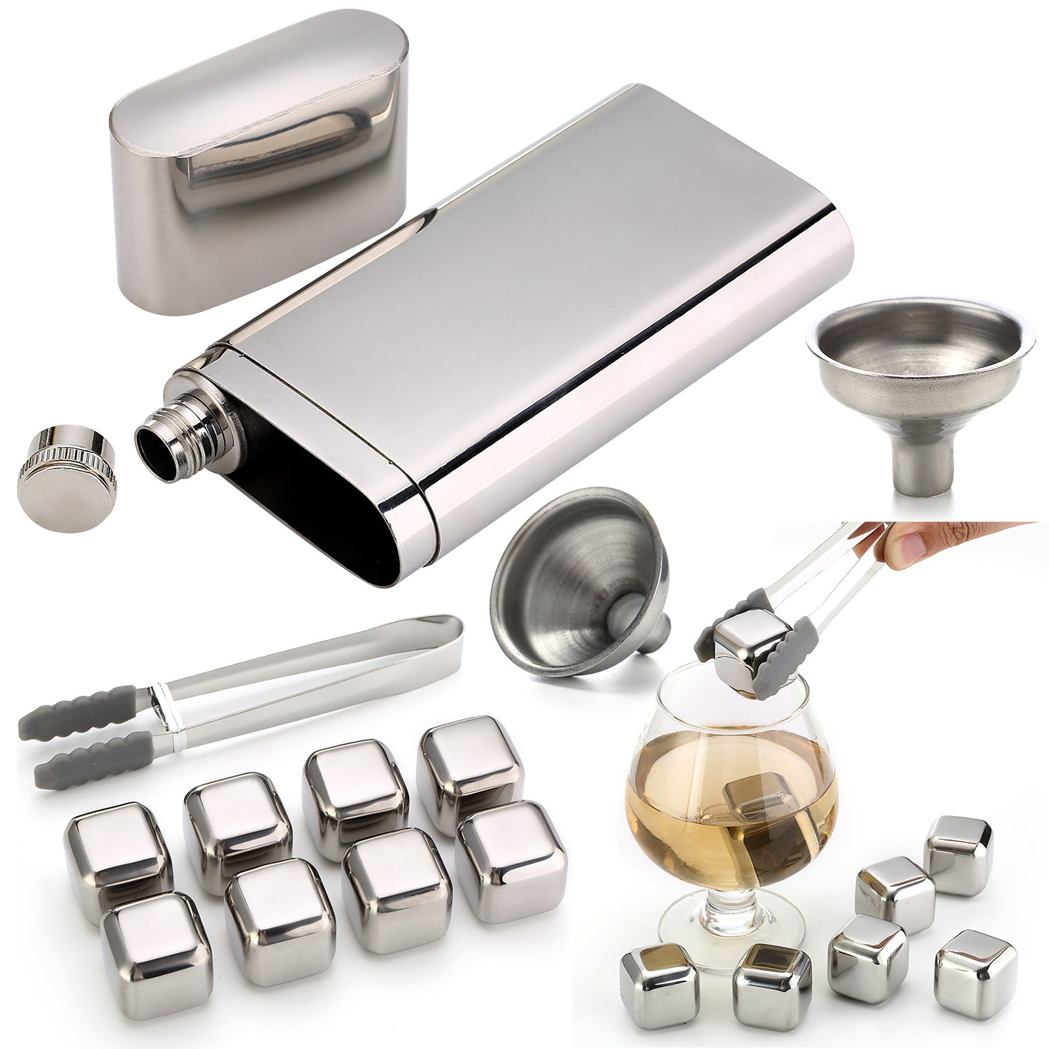 Stainless Steel Chilling Rocks / Stones (8) + Dual Cigar Flask (1) [Gift Set] + Funnel (1) + Tongs (1) [FDA Approved] by YazyCraft (Image #6)