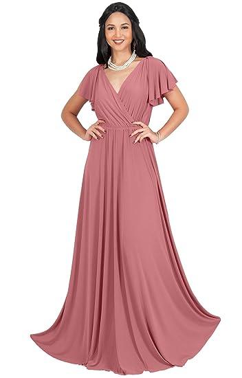 Koh Koh Womens Long V Neck Ruffle Sleeveless Bridesmaid Prom Gown
