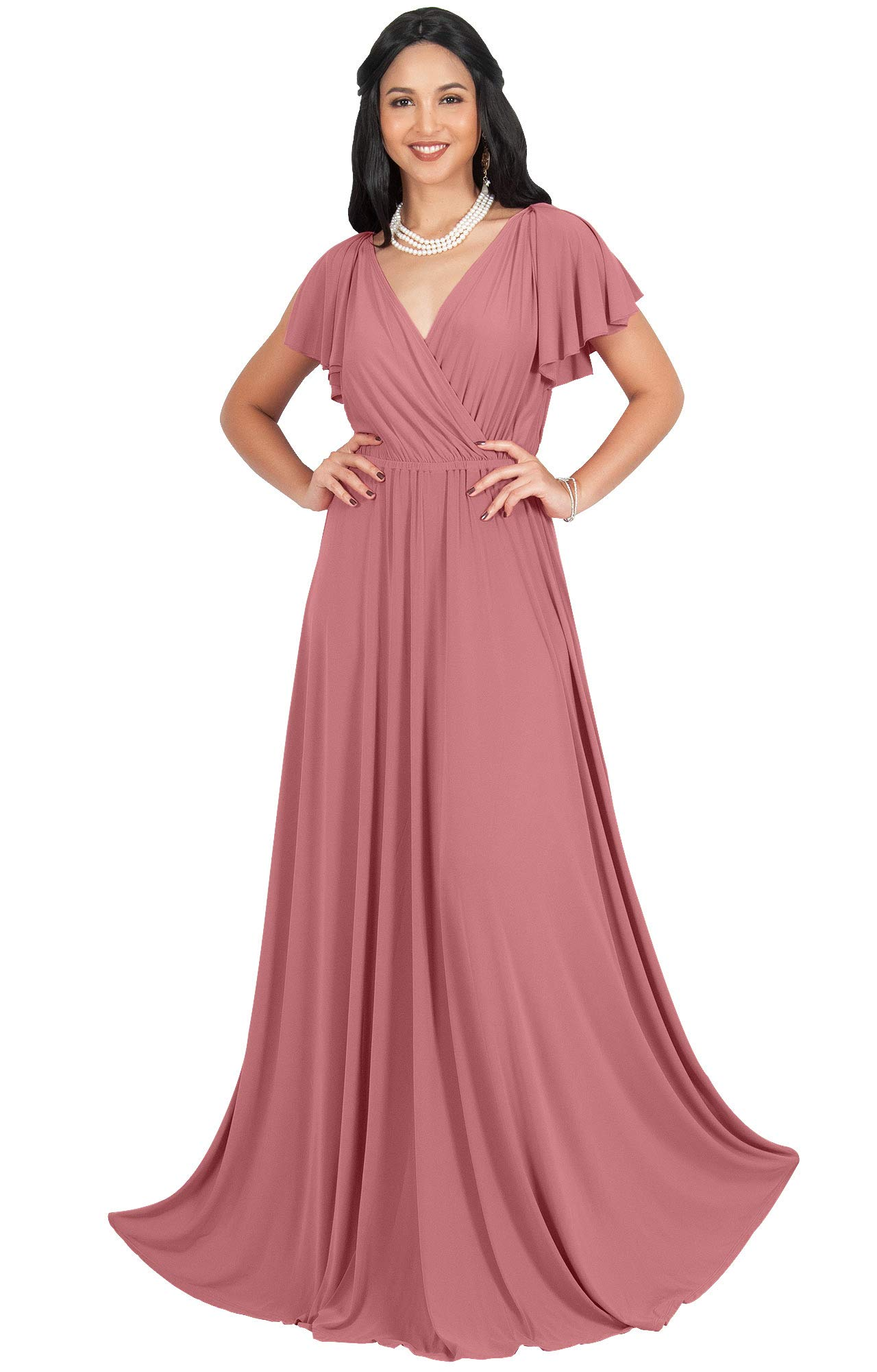 d692d9db2f KOH KOH Petite Womens Long V-Neck Sleeveless Flowy Prom Evening Wedding  Party Guest Bridesmaid Bridal Formal Cocktail Summer Floor-Length Gown  Gowns Maxi ...