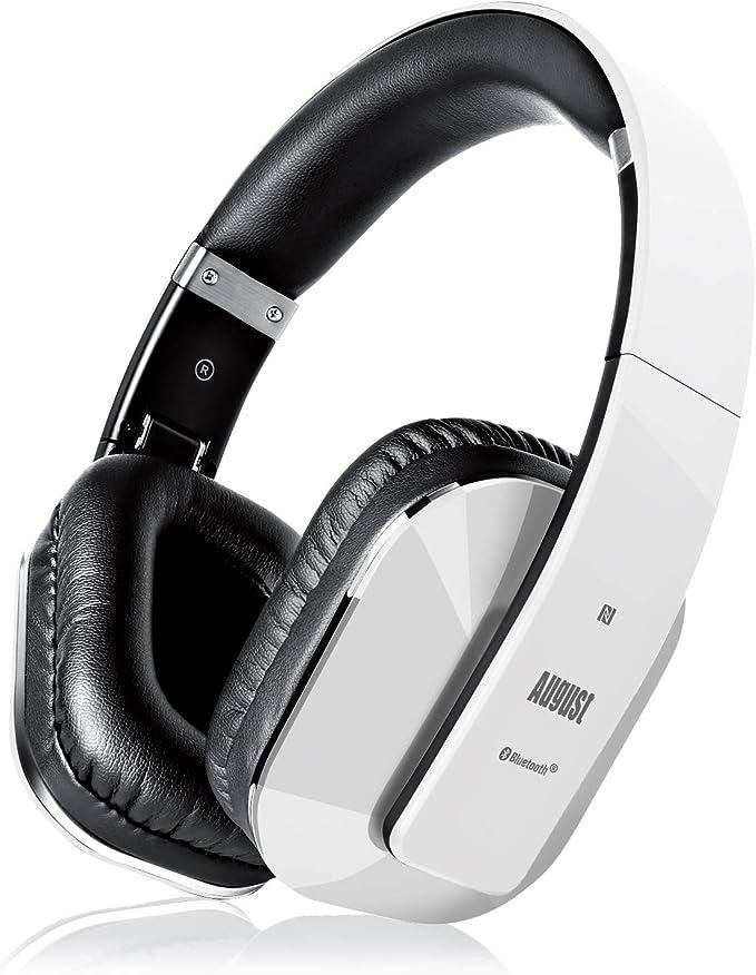 Cascos Inalámbrico con aptX Baja Latencia, Auriculares Bluetooth de Diadema Plegable August EP650 con Micrófono, NFC Auriculares Estéreo Inalámbricos para TV, Móvil, PC - Autonomía 15 Horas.