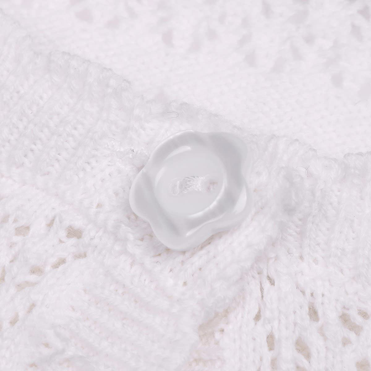 TiaoBug Baby Girls Wave Lacework Knit Long Sleeve Bolero Shrug Cardigan One Button Closure Sweater Cover up