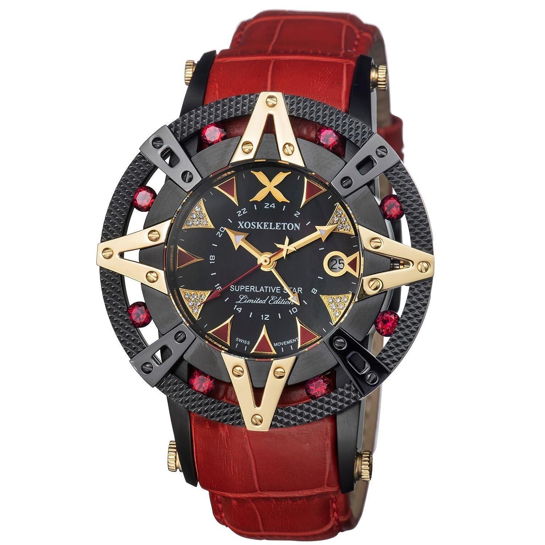 新しいメンズXOSKELETON最上級Star 51 mmダイヤモンドダイヤルスイスGMTレッドRuby腕時計 B07FDC458P