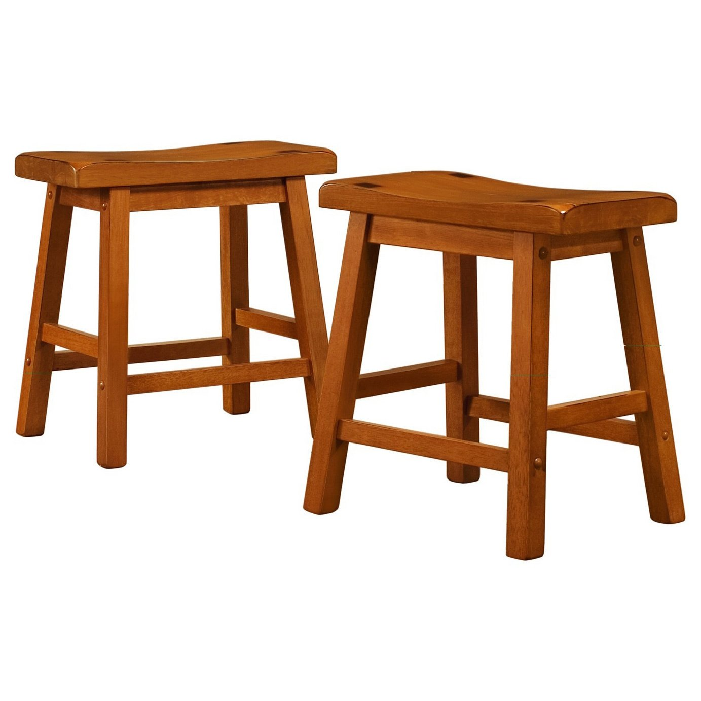 MattsGlobal Casual Crafted Solid Rubberwood Square Seat 18-inch Backless Stool Set of 2 (Honey Oak)