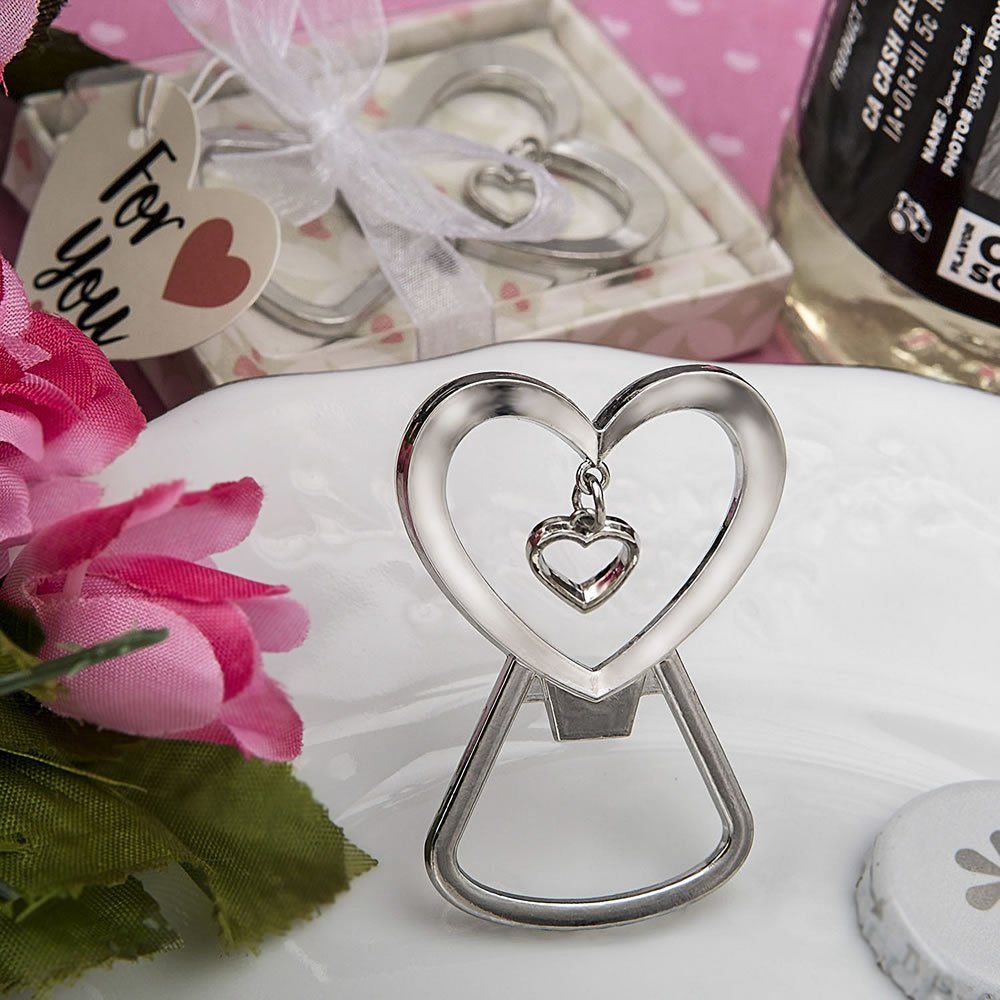 96 Heart Shaped Silver Metal Bottle Openers with Dangling Heart Design