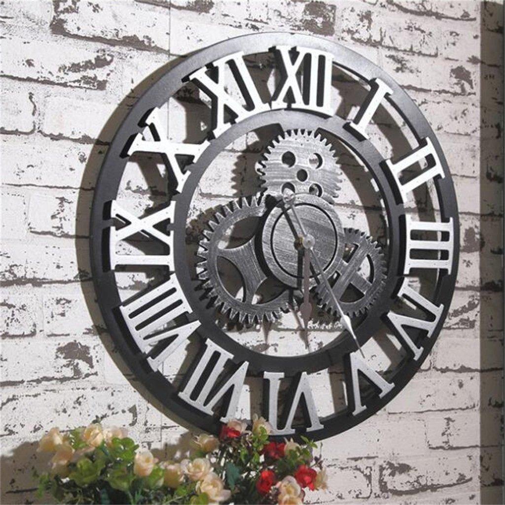 YFF-壁時計 レトロインダストリアルウィンドミュートウォールクロッククリエイティブパーソナリティノスタルジック3Dギア壁掛け時計ファッション装飾時計キッチンリビングルームオフィスホテル ( 色 : Roman Silver color ) B07CR4RJZ5Roman Silver color