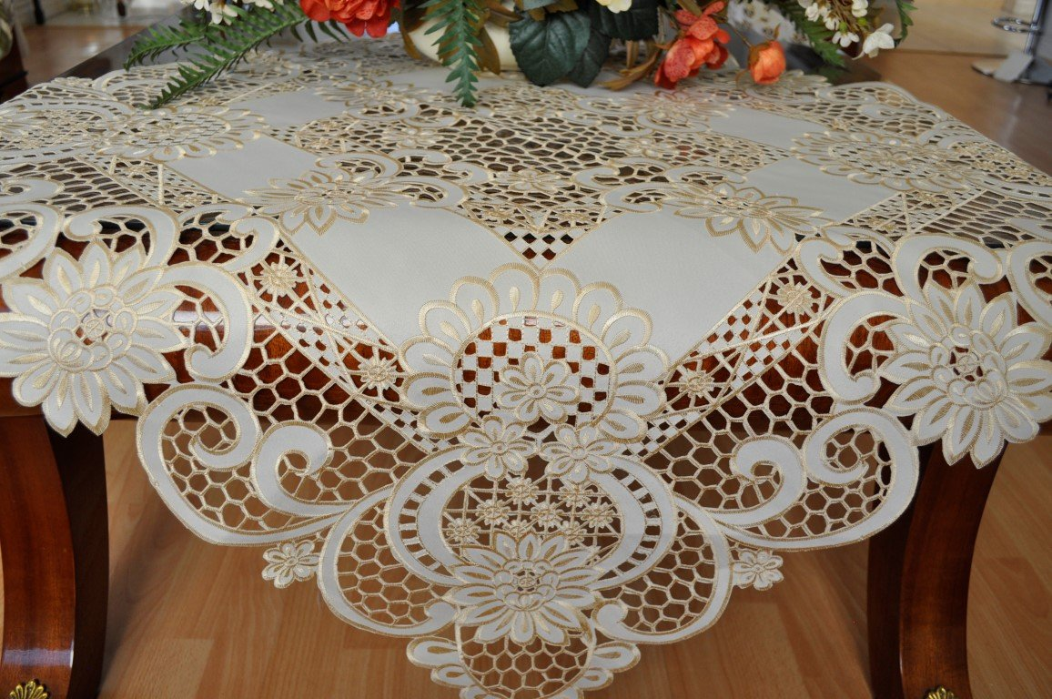 Lux Home fashion Tasleffa Gorgeous Embroidered Cut Work Design Linens Table Topper:36''x 36'' Square. Beige.