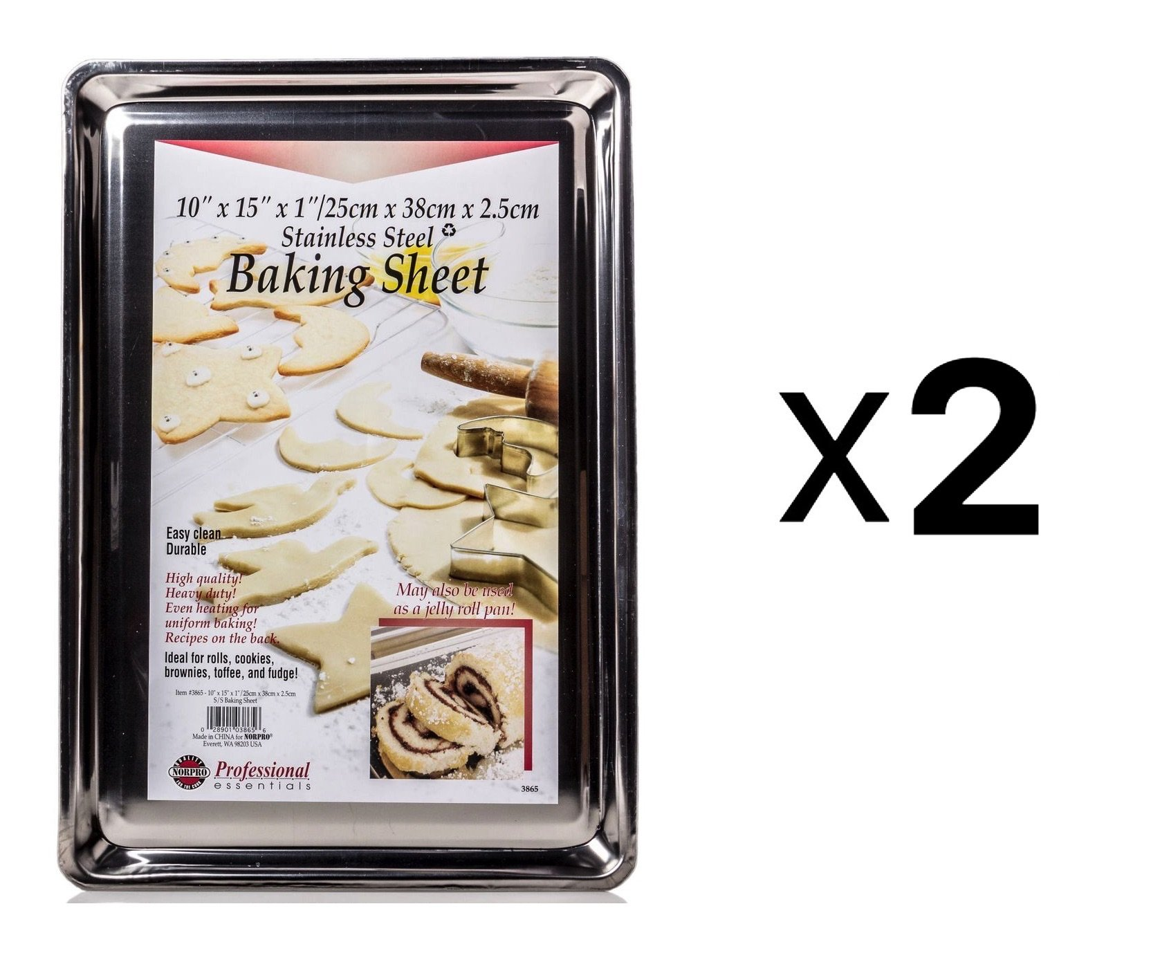 Norpro Stainless Steel 10X15'' Jelly Roll Baking Pan Cookie Sheet (2-Pack)