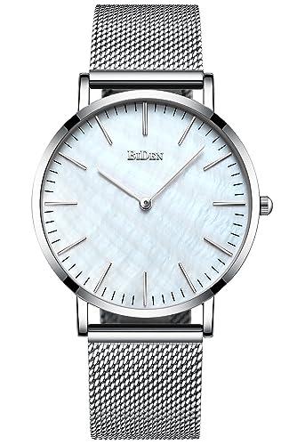 5788438a6638 Unisex para Hombre para Mujer Simple Funda Relojes Correa de Malla de la  Plata Hombres Lujo