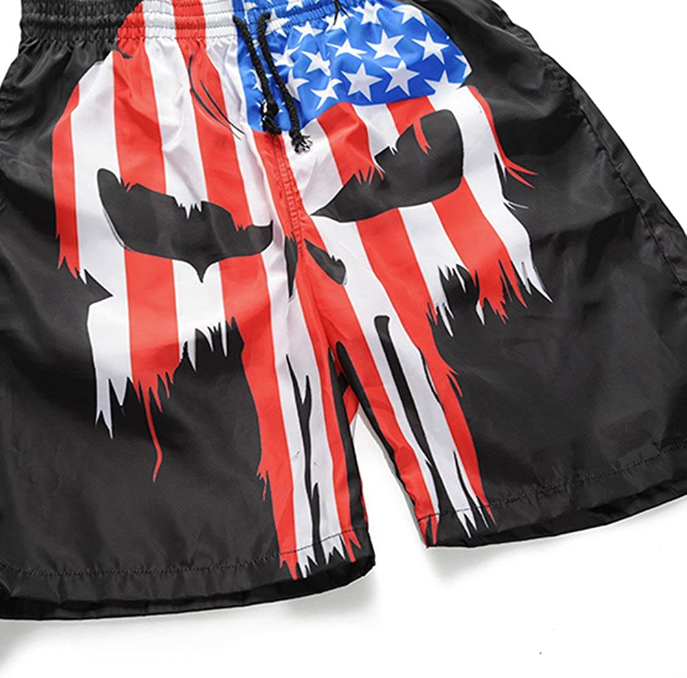 Redshop Men Casual Skull Flag Printed Causal Beach Work Casual Men Short Trouser Shorts Pants