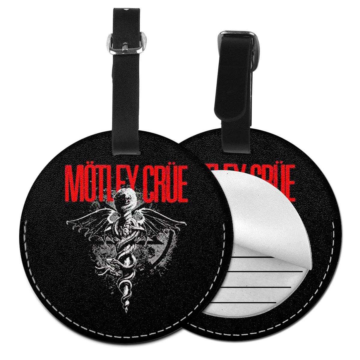 Motley Crue Travel Leather Round Luggage Tags Suitcase Labels Bag