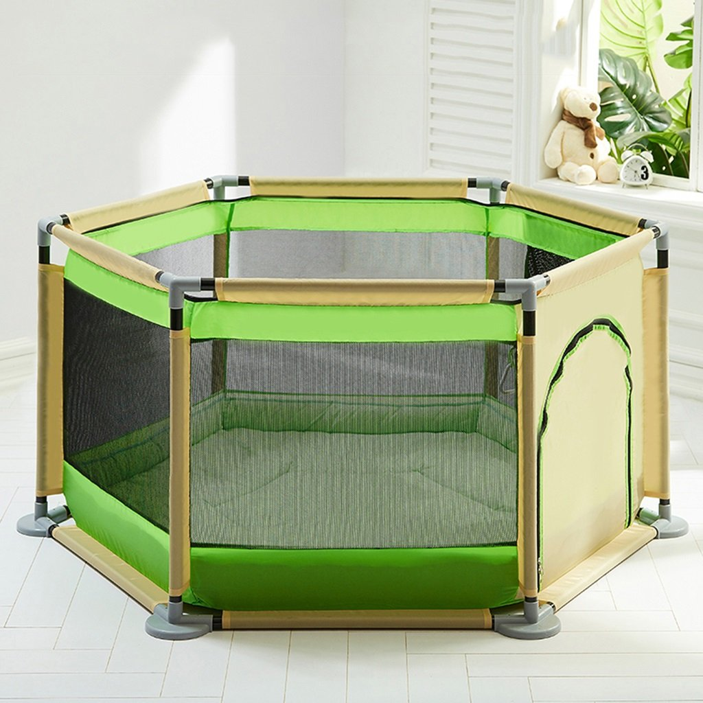 Portable PlayYard with Pad and Balls for Baby Metal Fence 6 Panel Kids Activity Center for Boys Girls Outdoor Indoor Outdoor