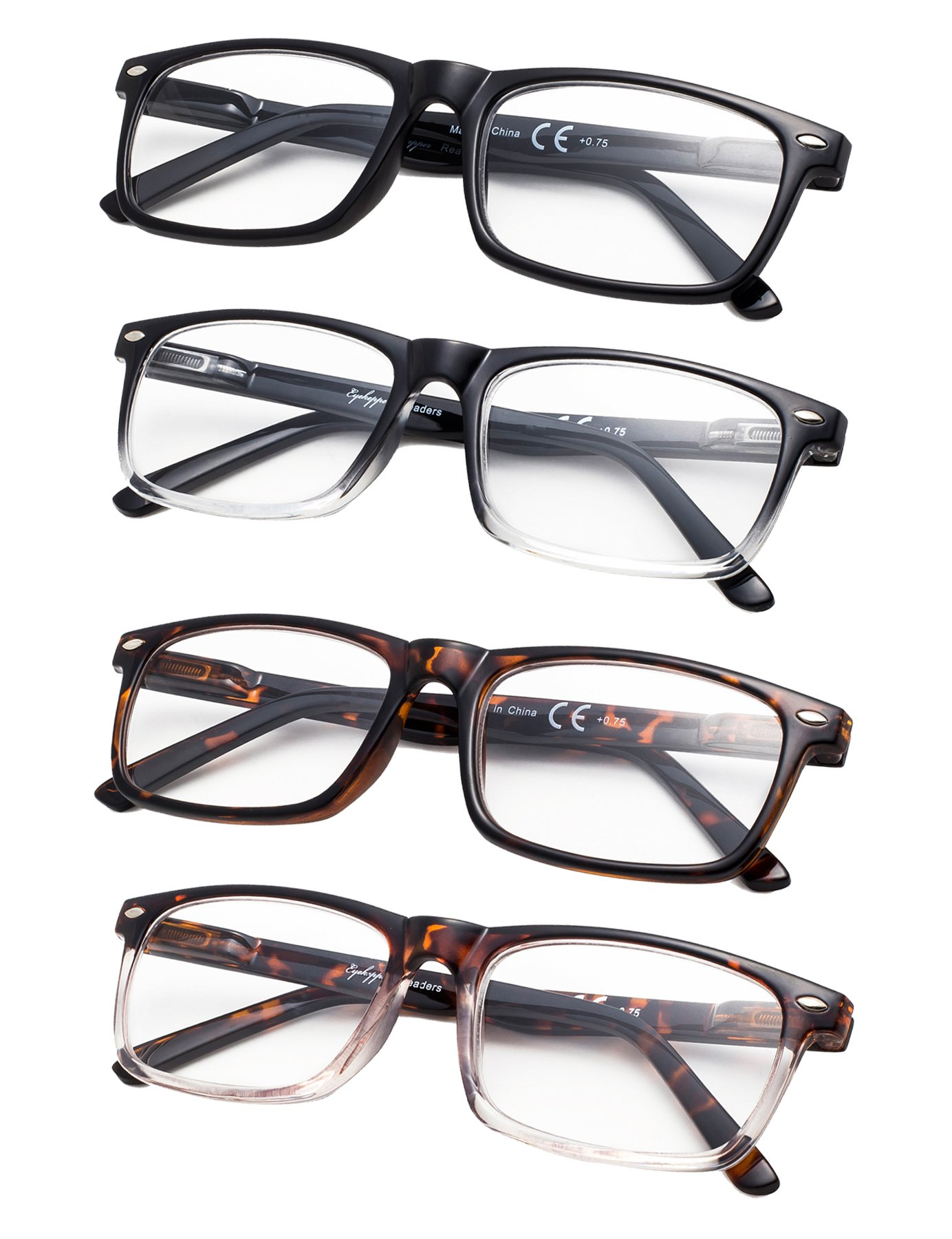 4-Pack Vintage Style Reading Glasses with Spring Hinges +1.75