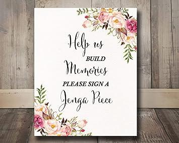 Amazon.com: Dozili - Cartel de boda rústico para libro de ...