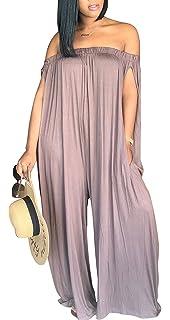 e52bdcc0ee5 Blansdi Women Loose Jumpsuits Off Shoulder Soild Wide Leg Pants Long Rompers  Pocket
