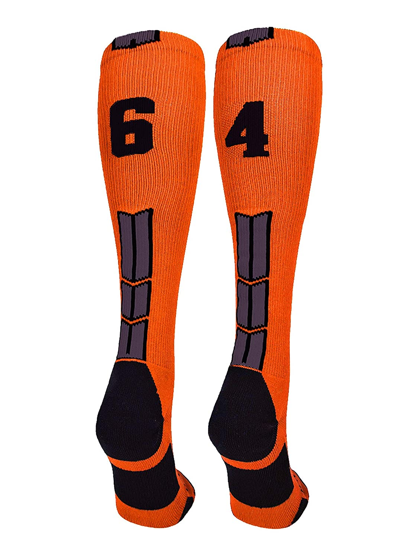 MadSportsStuff Orange//Black Player Id Custom Over The Calf Number Socks Pair