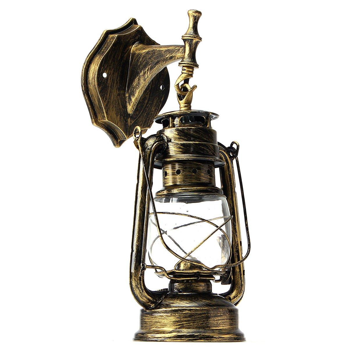 KING DO WAY Retro Rustikalen Laterne Lampe Wand Antiken Wandleuchter vintage lichtanlage outdoor e27 Bronze [Energieklasse A++] wosirlDE9278