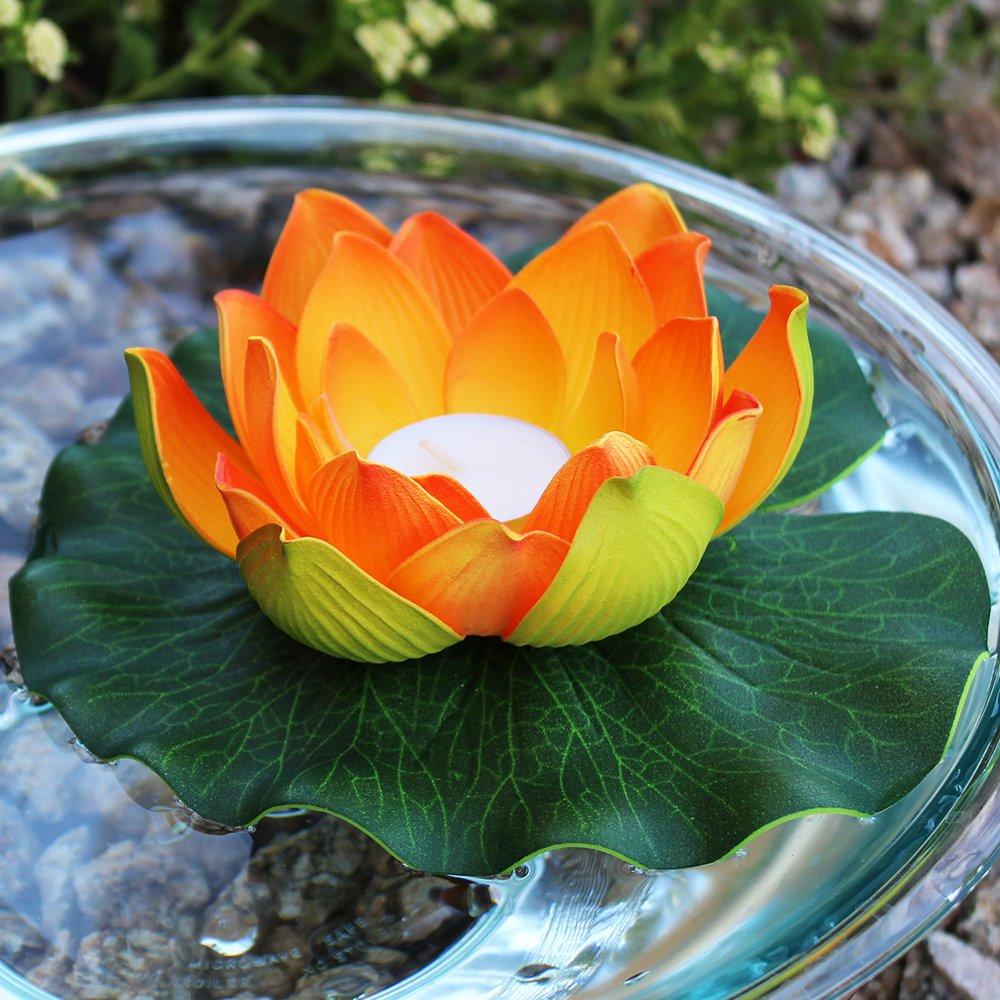 Amazon just artifacts 5pc foam lotus floating water flower amazon just artifacts 5pc foam lotus floating water flower candle color orange garden outdoor izmirmasajfo