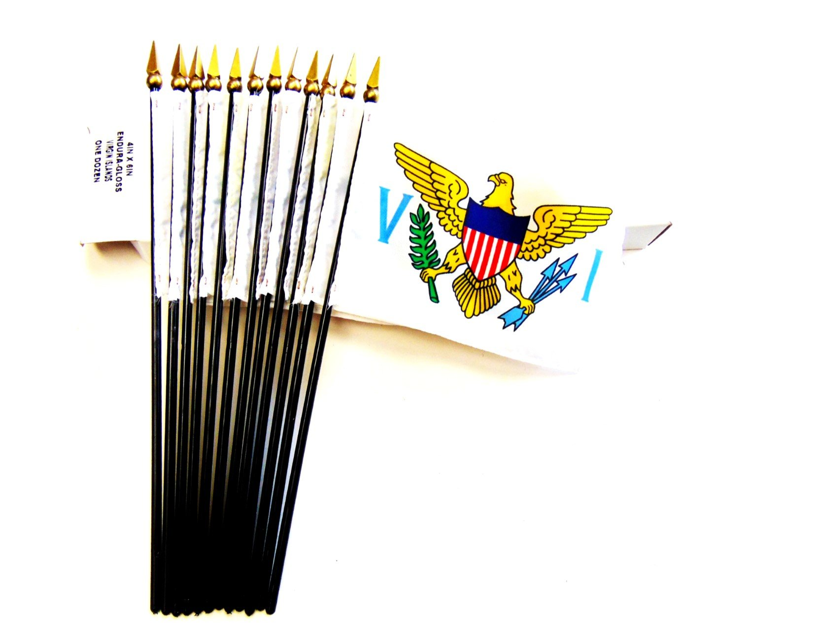 Made in USA!! Box of 12 US Virgin Islands 4''x6'' Miniature Desk & Little Table Flags; 12 Office and Waving Small Mini USVI Handheld Stick Flags in a Custom Made Cardboard Box Made for These Flags
