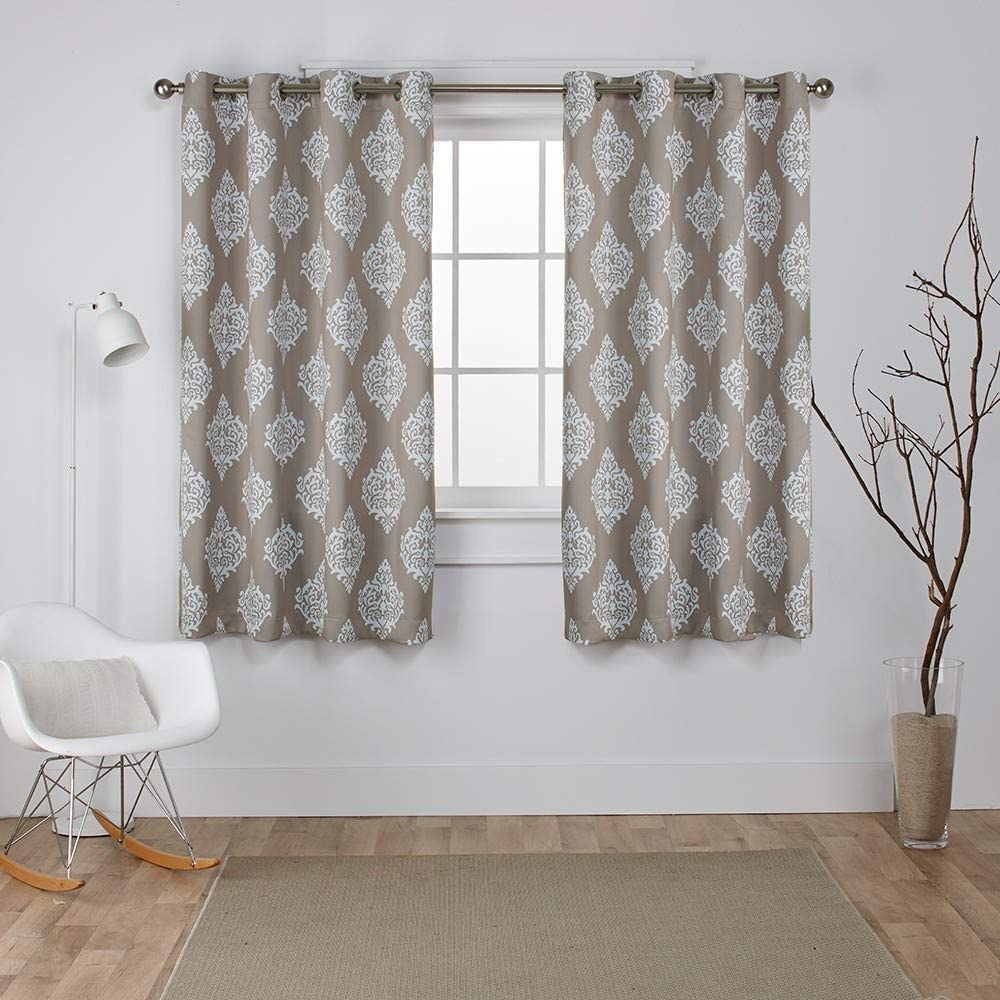 Exclusive Home Medallion Blackout Grommet Top Curtain Panel Pair, 52x63, Taupe, 2 Count