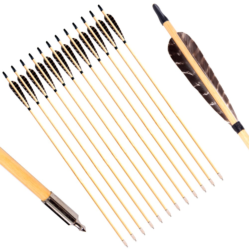 PG1ARCHERY Archery Wooden Arrows, Eagle Parabolic Turkey Feathers Fletching with Field Points Hunting Practice Targeting Arrow for Recurve Traditional Bow & Longbow(Pack of 12)