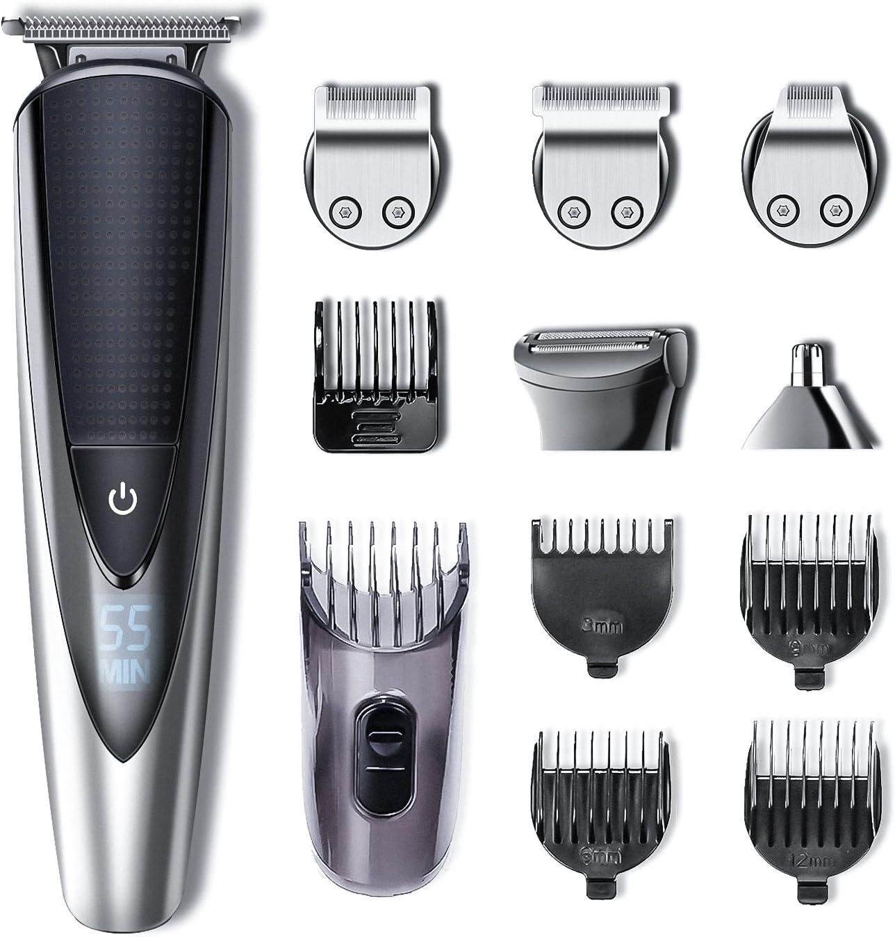 Hatteker Barbero Electrico Recortador de Barba y Precisión Afeitadora Corporal para Hombres Profesional Cortapelos Narizy Orejas Máquina de Afeitar Impermeable Inalámbrica Recarga
