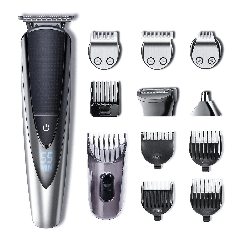 Hatteker Barbero Electrico Recortador de Barba y Precisión Afeitadora Corporal para Hombres Profesional Cortapelos Narizy Orejas