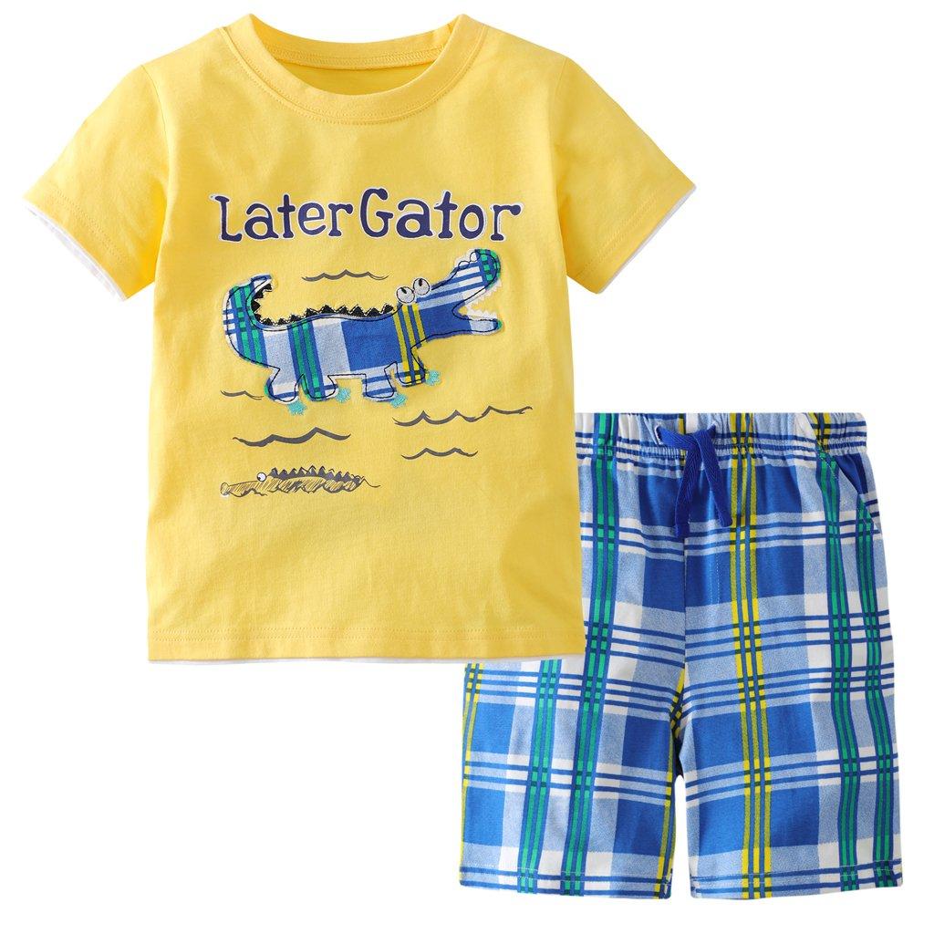 Hsctek Boys' Cotton Clothing Sets, Short Sleeve T-Shirt & Short Sets for Summer(Later Gator, 4T/4-5YRS)
