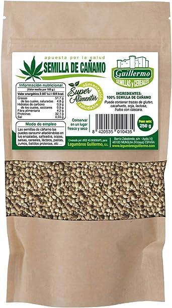 Guillermo Semillas de Cáñamo Peladas Orgánicas Superalimento 100% Natural 250gr