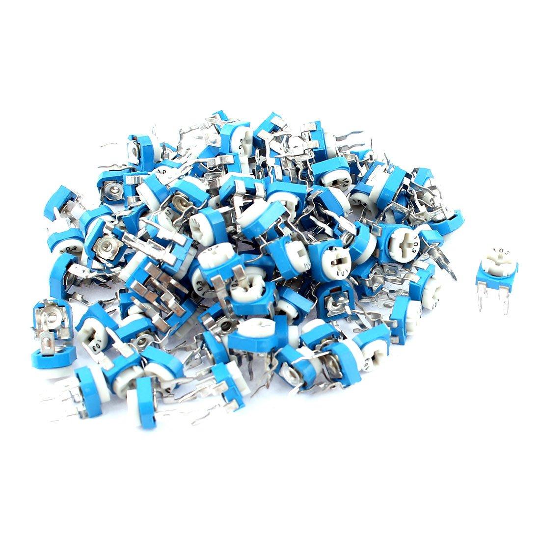 sourcingmap® 10K ohm Vertical Variable Resistor Trimmer Potentiometer Blue 100Pcs a15070400ux0557