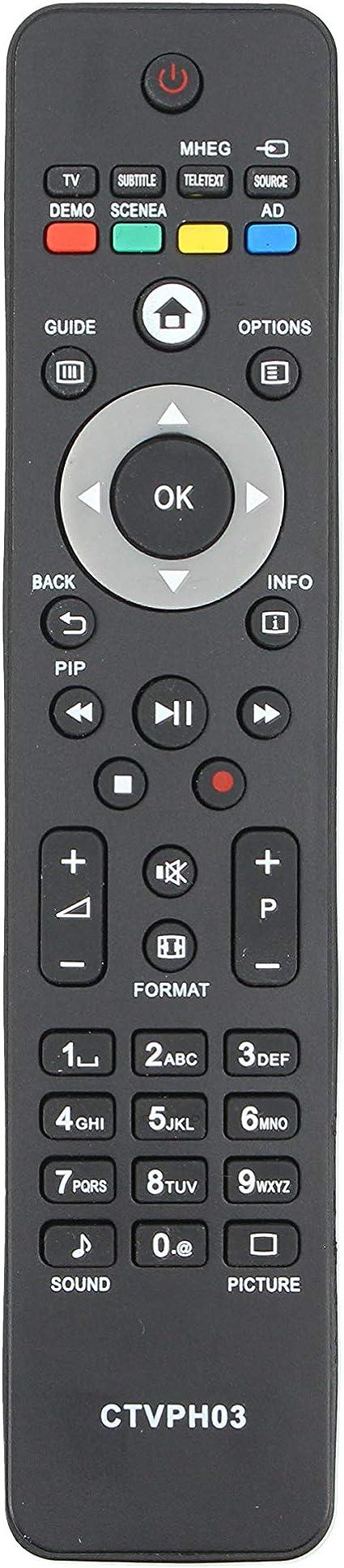 Common TV CTVPH03 Mando a Distancia Universal para Control Remoto de televisores Philips, sin configuración, ergonómico: Amazon.es: Electrónica