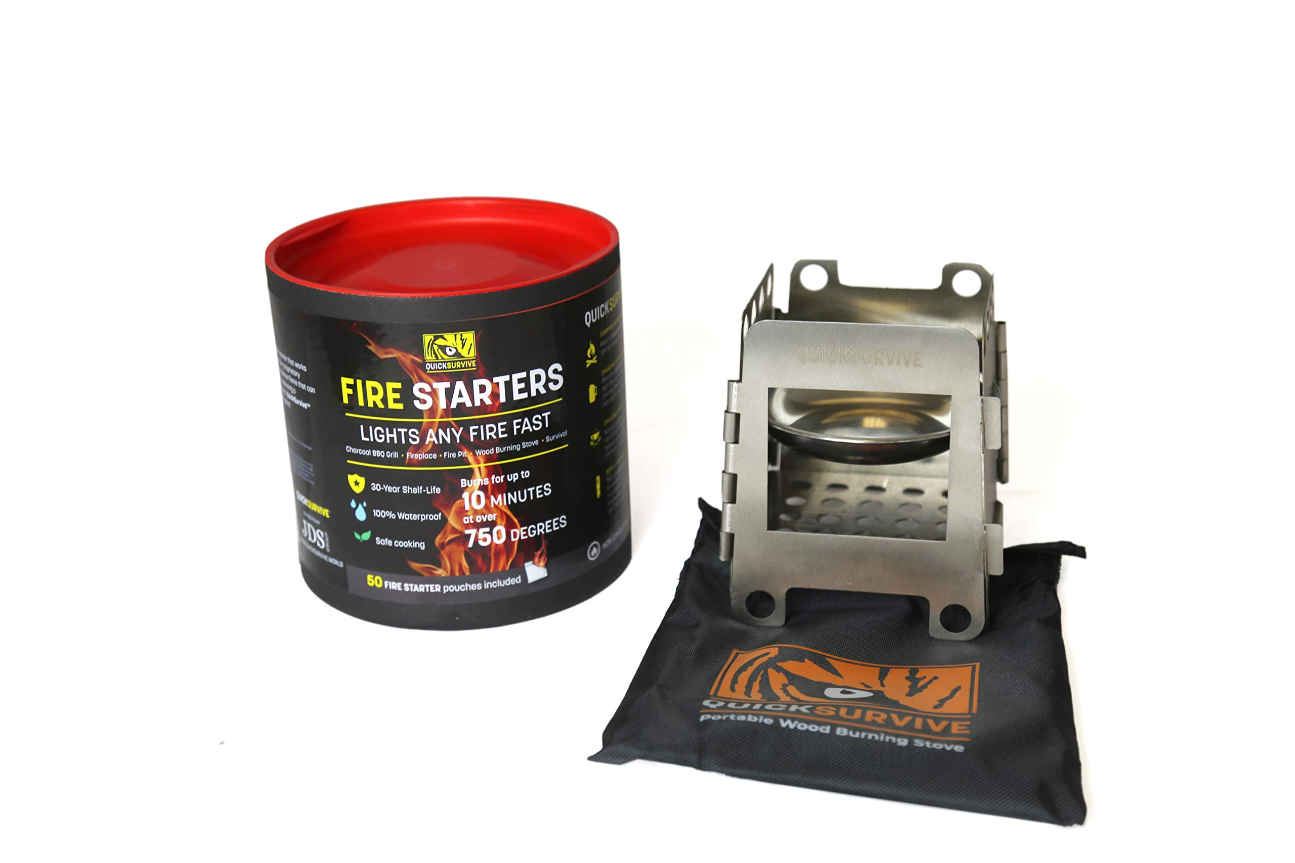 QuickSurvive Mini Survival Wood Burning Stove and All-Purpose Fire Starters (Stove + 50 Fire Starters) by QUICKSURVIVE