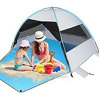 Felicigeely Large Beach Tent, Portable Sun Shelter Anti UV Beach Umbrella Baby Tent for 3-4 Person, Outdoor Beach Tents…