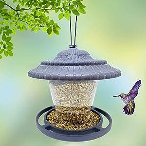 BEBEKULA Bird Feeder for Outside, Wild Bird Feeder Hanging for Garden Yard Decoration (Gray)
