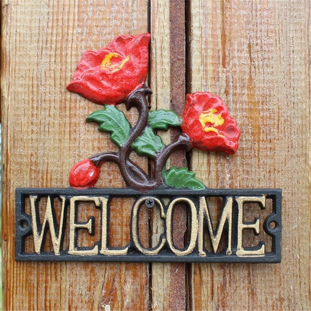 Bienvenido a casa para la pared puerta Sign Shop Personalizado de Hierro Fundido Signo de Bienvenida Placa de Metal Estilo Europeo Colgantes de Pared Con Rosas 3D Diseño Decoración de Pared for Jardín