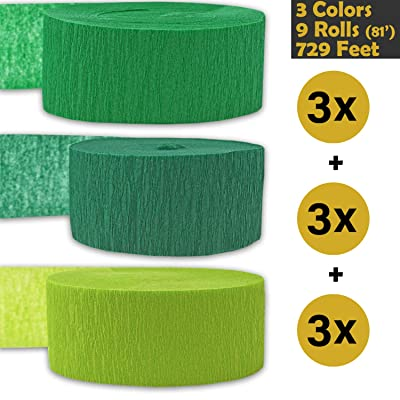 Crepe Party Streamers, 9 rolls, 3 Colors, 739 ft - Emerald Green + Forest Green + Lime Green - 243' per color (3 rolls per color, 81 foot each roll) - For party Decorations and Crafts - Flame Resistant, Bleed Resistant, Made