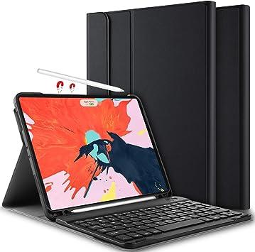 Yocktec Teclado con Funda para iPad Pro 12.9 2018 [QWERTY], Ultra-Delgado Funda/Estuche Soporte, DesmontableTeclado Bluetooth para Apple iPad Pro 12.9 Pulgadas 2018 (Negro): Amazon.es: Electrónica