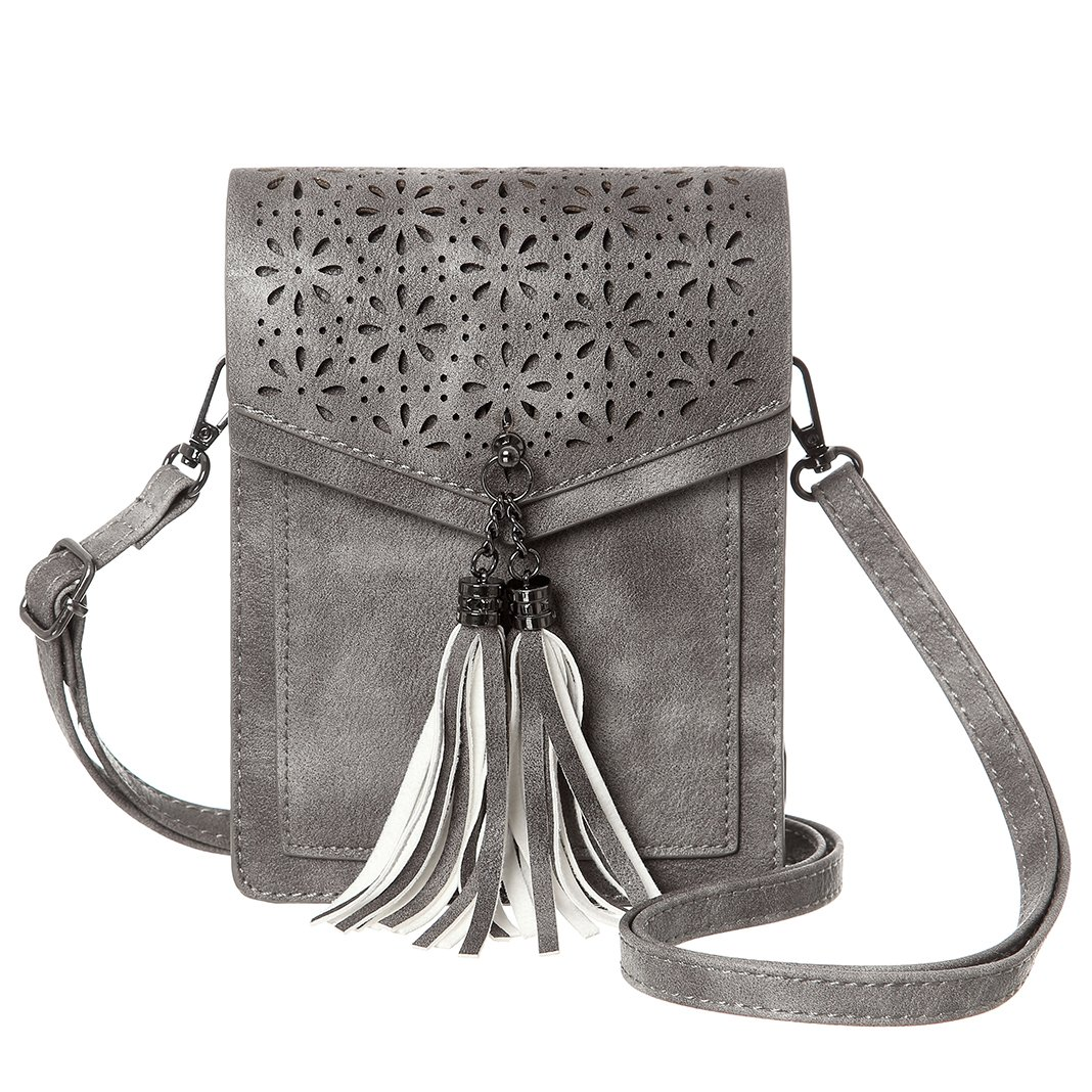 MINICAT Tassel Thicher Pocket Small Crossbody Bags Cell Phone Purse Wallet With Card Slots(Gray)