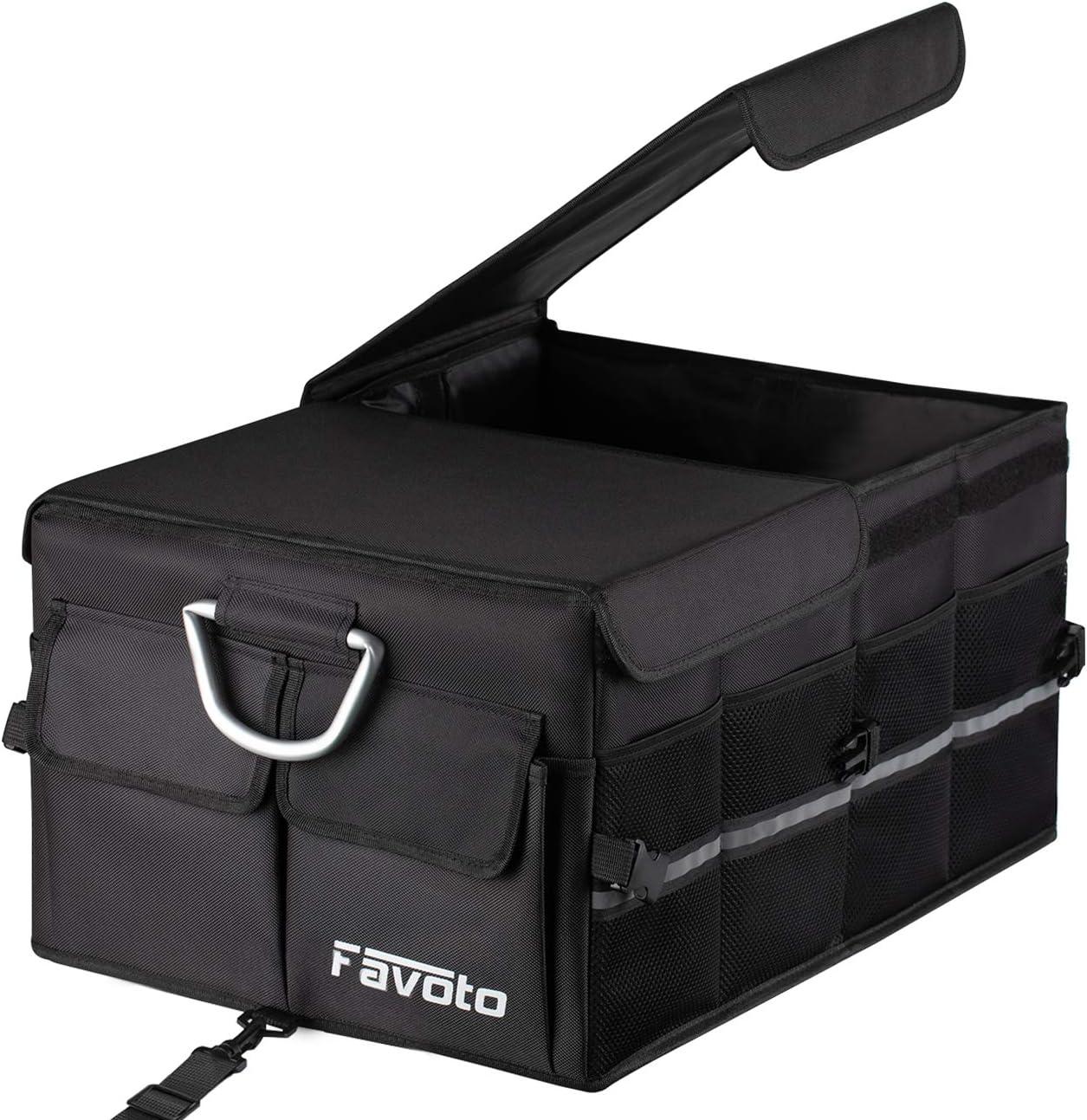 Favoto Auto Kofferraum Organizer Kofferraumtasche Mit Klappbarem Deckel Reflektorstreifen Robust Oxford Material Wasserdicht Autotasche Box Für Limousine Suv Schrägheck Schwarz Auto