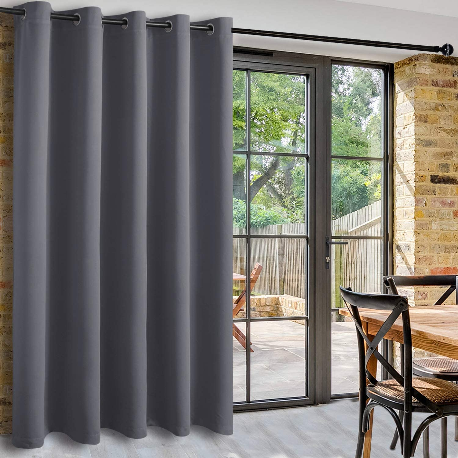 Dwcn Room Divider Blackout Curtain Thermal Grommet Panel With Top For Bedroom Partition Patio Sliding Door Curtains Extra Wide Curtains For Glass Door 6 7ft Wide X 7ft Tall Dark Grey