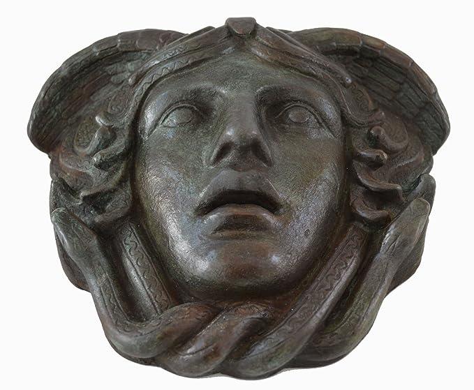 Máscara de Medusa con - color efecto de bronce antiguo teatro griego - arpía Medousa: Amazon.es: Hogar
