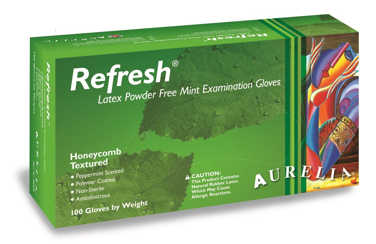 Aurelia Refresh Latex Glove, Powder Free, 9.4'' Length, 5 mils Thick, Medium (Pack of 1000)