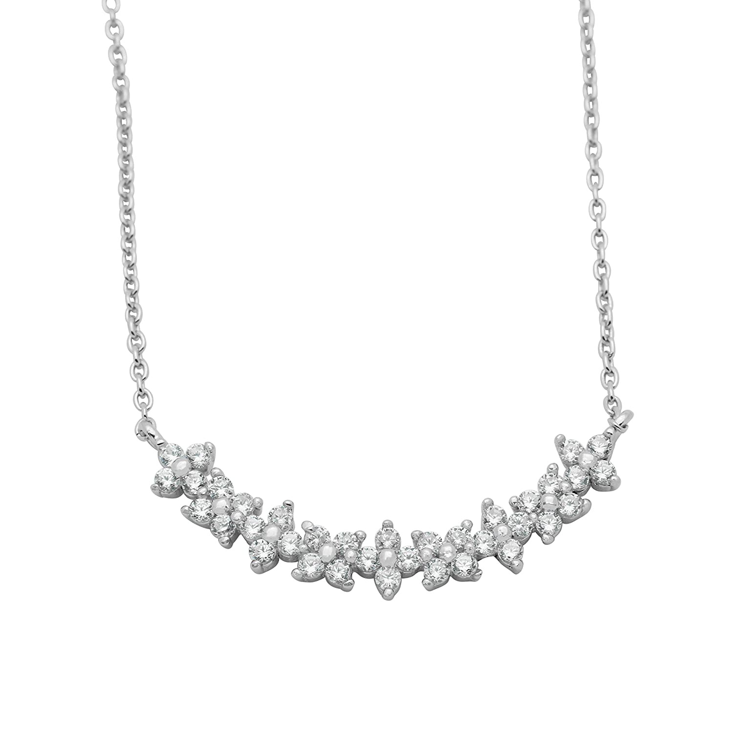 925 Sterling Silver 16 CZ Necklace with 2 extension Floral flower pendant necklace Clear CZ Accent