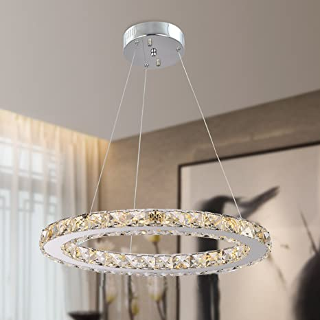 Garwarm Modern Crystal Chandeliers,Ceiling Lights Fixtures,Pendant Lighting  for Living Room Bedroom Restaurant Porch Dining Room,One Rings (Dia 11.8\