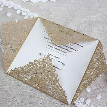 YongYI - 20 Invitaciones Románticas para Boda, Fiesta, delicadas Flores talladas, Decoración de Bodas, Banquetes, Fiestas, Invitaciones, Amarillo, ...