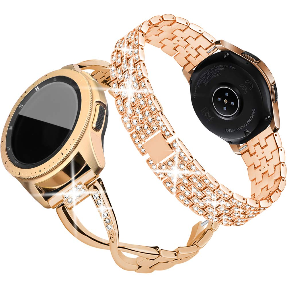 Supoix Compatible for Galaxy Watch 42mm Band,2 Pack 20mm Women Jewelry Bling Metal Replacement Bracelet for Samsung Galaxy Watch 42mm/Active 40mm(Rose Gold) by supoix