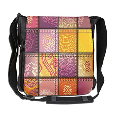 Lovebbag Ethnic Indian Oriental Asian Mandala And Paisley Motifs Boho Art Decor Wall Hanging For Bedroom Living Room Dorm 60WX80L Inches Orange Purple Crossbody Messenger Bag