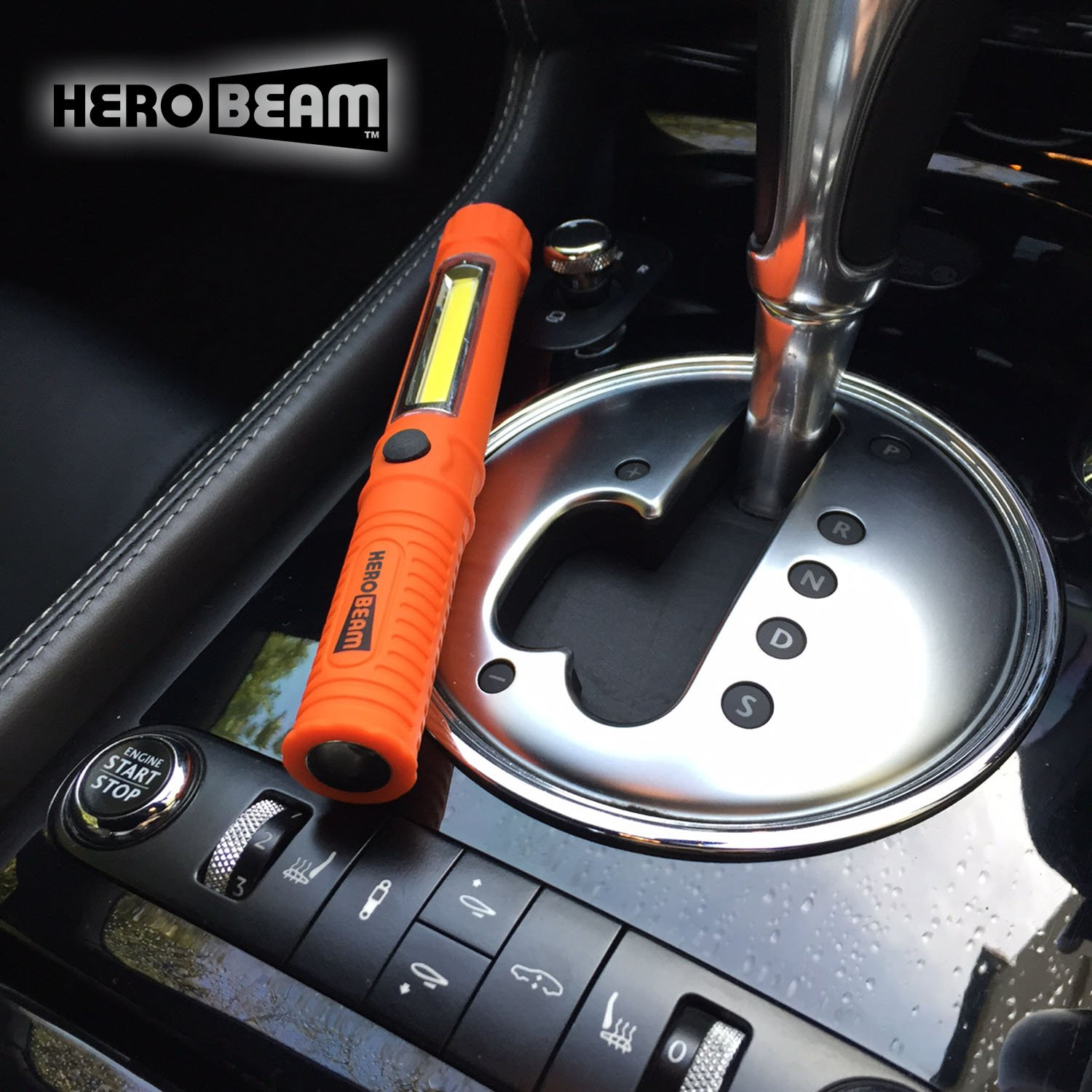 HeroBeam A Glovebox Essential for Auto Emergencies at Night - Super Bright LED Flashlight//Worklight with Attachment Magnet and Clothing Clip SINGLE PACK Car Emergency Flashlight