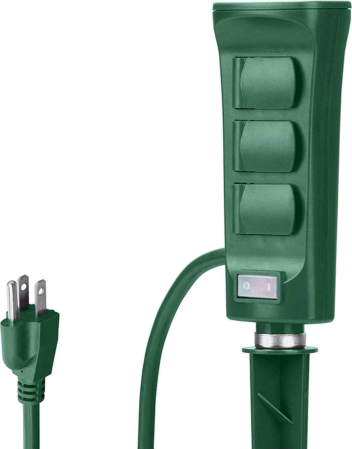 BESTTEN Outdoor Power Stake with 6 Outlets and 9 Foot Extension Cord, Heavy Duty Power Strip with Overload Protection Switch and Weatherproof Protective Covers, ETL Listed, Green