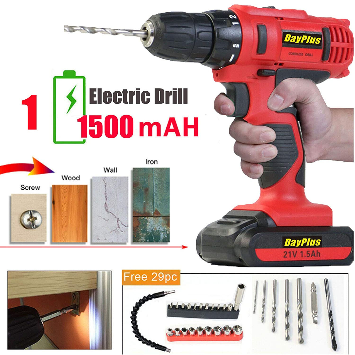 Lithium Battery 21V Cordless Drill 45N.m Max Power 29PC Screwdrivers